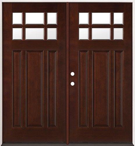 6 Lite Craftsman Mahogany Wood Entry 43 Double Doors Double
