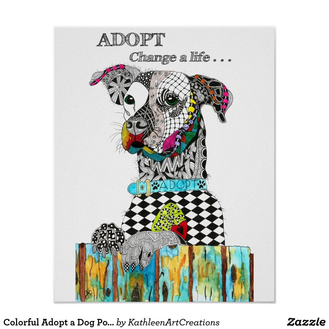 Colorful adopt a dog poster 16 x 20 dog