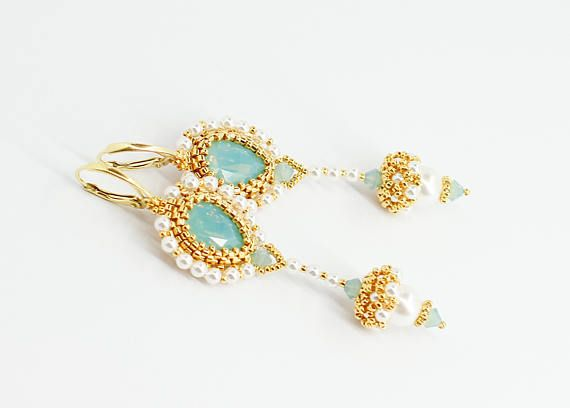 Bianco orecchini di cristallo Swarovski gioielli di perle orecchini di perle orecchini lampadario orecchini sposa turchese gioielli di nozze per damigelle