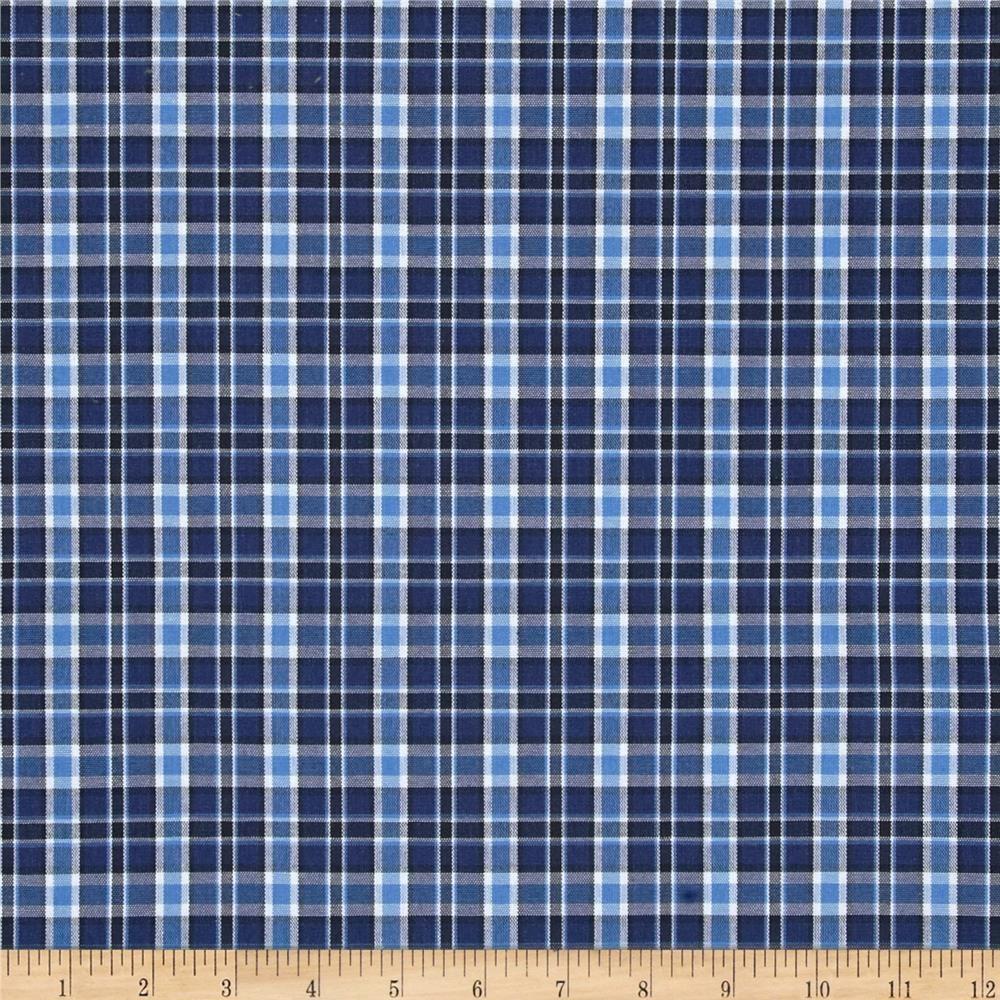 Poly cotton uniform plaid navy blue black white it is for Navy blue plaid shirt