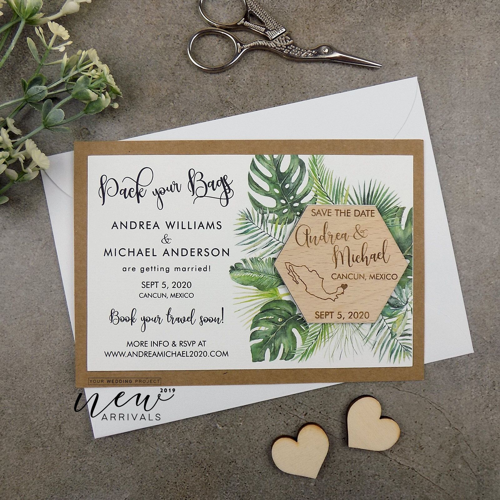 Tropical Save the Date Wood Save the Date, Mexico