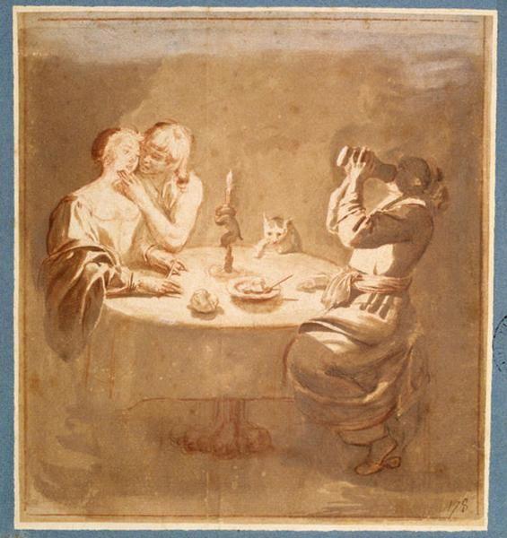 Jean LECLERC - Souper galant (2e quart 17e siècle)