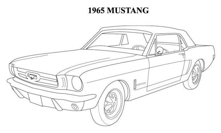 1964 Mustang Coloring Pages | mustangs | Cars coloring