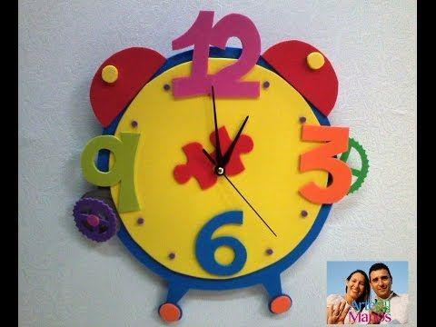 C mo crear un reloj con goma eva paso a paso youtube aula crafts for kids manualidades y diy - Manualidades relojes infantiles ...