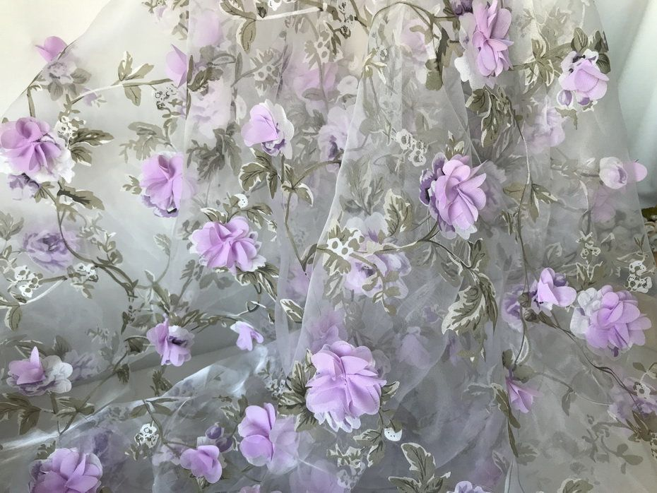 3d Lilac Flower Green Leaf Fabric On Organza Lace Fabric For