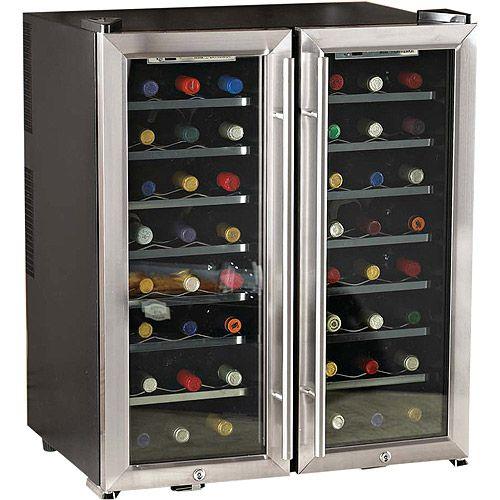 Wine Enthusiast 48 Bottle Dual Zone Wine Cooler Walmart Com Favorite Wine Supplies Wine Refrigerator Wine