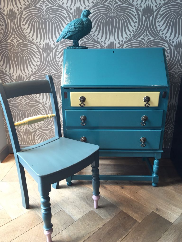 bureau painted in farrow and ball vardo and yellow ground chair painted in inchyra blue yellow. Black Bedroom Furniture Sets. Home Design Ideas
