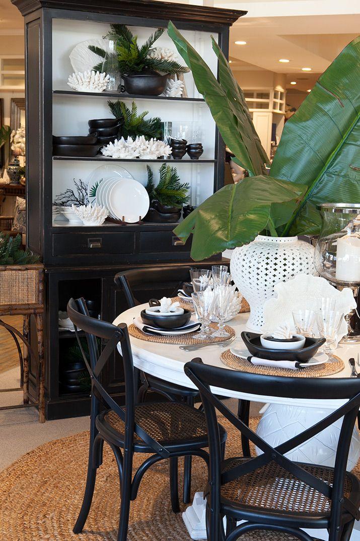Portland Black Hutch Single Behind White Dinning Table