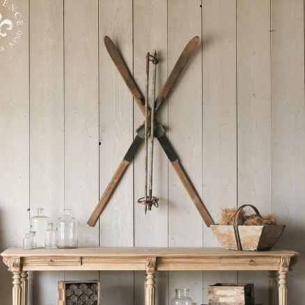 Antique Wooden Pair Of Skis Decor 545 00 Tllacottage Shabbychic