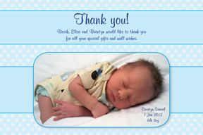 $18 - File sent to print as many as you like from your home printer or favourite photo store. Just send the photo you'd like to put on the thank you/birth announcement. Birth Announcement - Dots & Ribbon BS-023