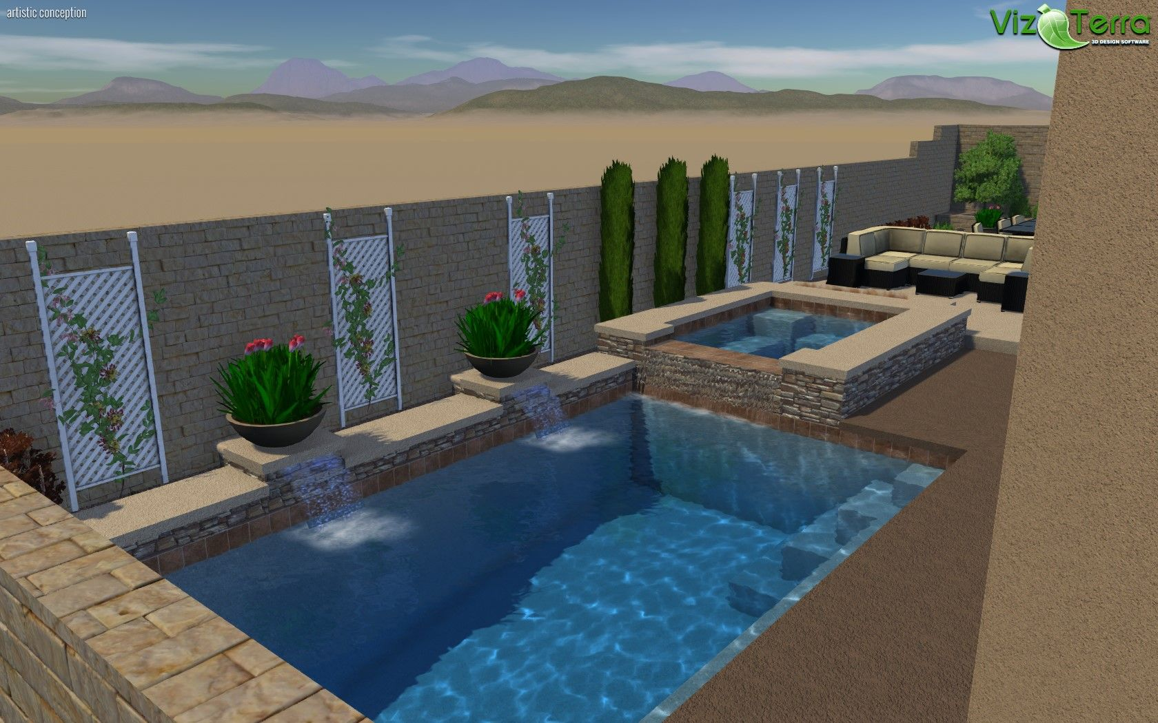 3D Landscape and Pool design. Nice back yard with Pool