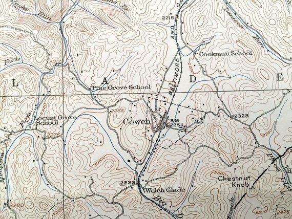 Antique Cowen, West Virginia 1915 US Geological Survey