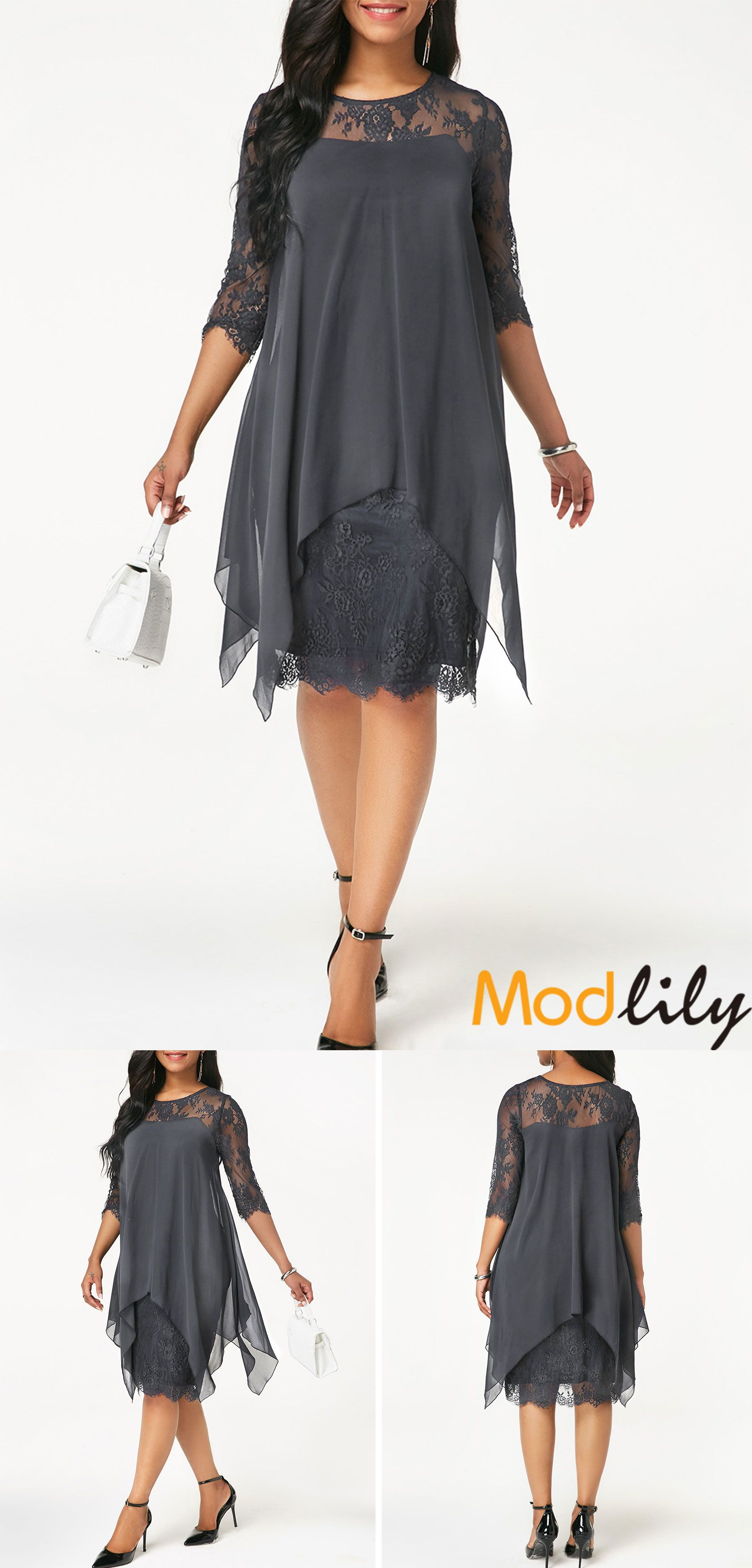 2b50e745de Round Neck Chiffon Overlay Lace Dress On Sale At Modlily. Free ...