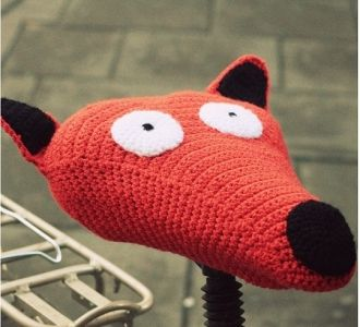 crocheted fox for bicycle saddle - perfect christmas gift