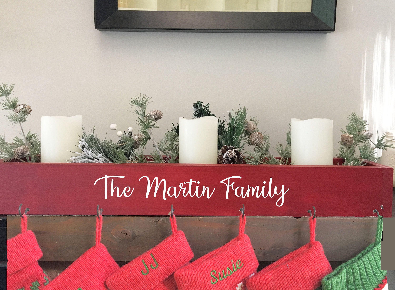 family stocking holder, Personalized, mantle box