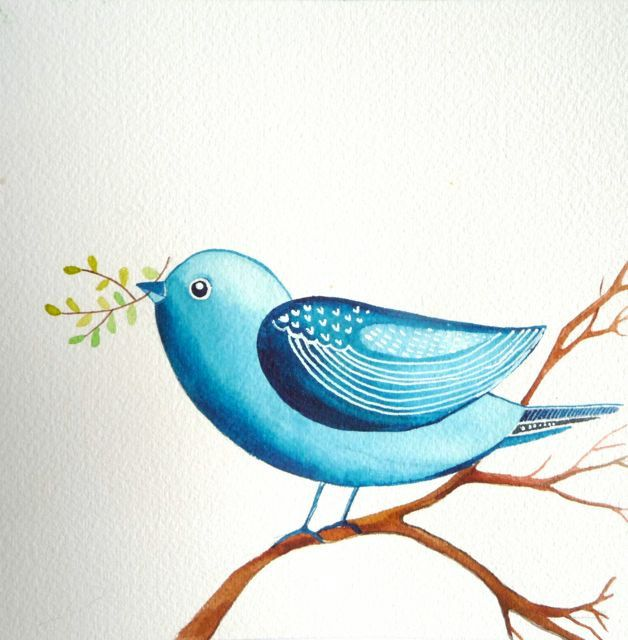 Blue Bird / Nature / Original Watercolor Painting by Elina Lorenz ...