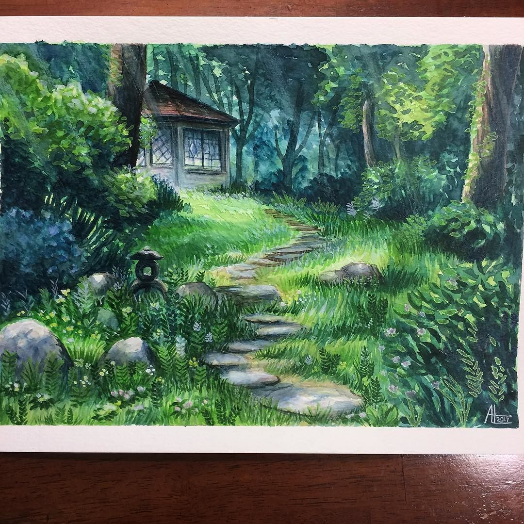 Watercolor Study Of A Studio Ghibli Background Painting Don T Remember Which Movie Maybe Arietty I Did This A C Studio Ghibli Background Landscape Ghibli Art