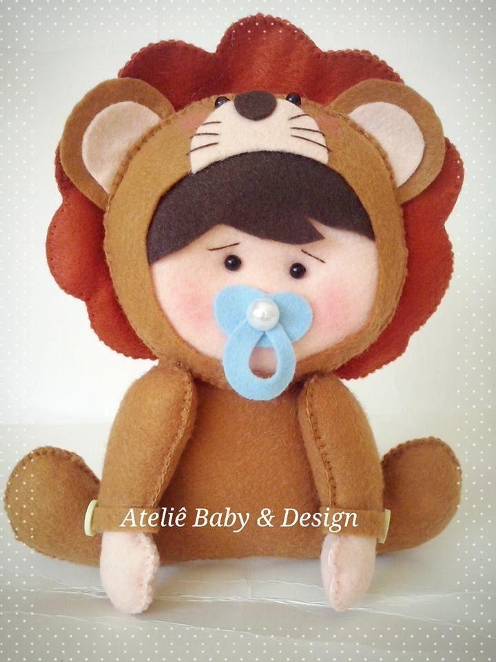 Lindo Leão baby em feltro, feito a mão. Pode ser usado como ...