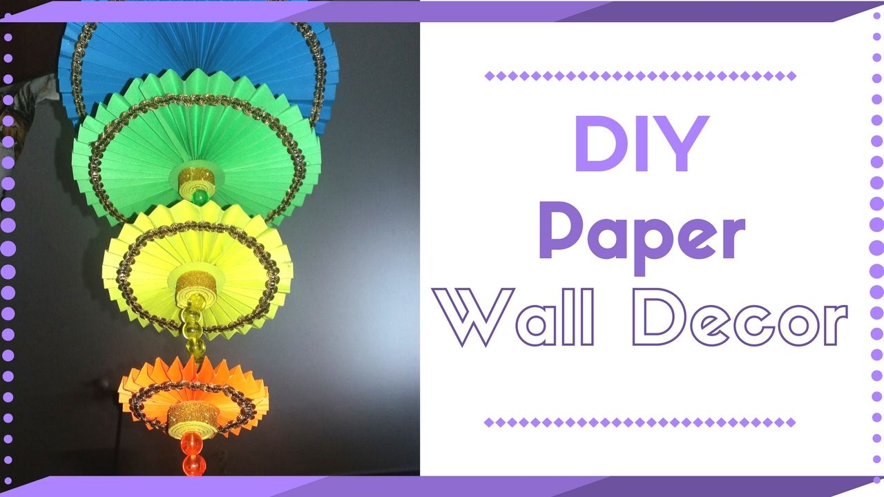 DIY Wall Hanging Craft Ideas Using Colour Paper | Decorating Ideas For Living  Room | Maya Part 86