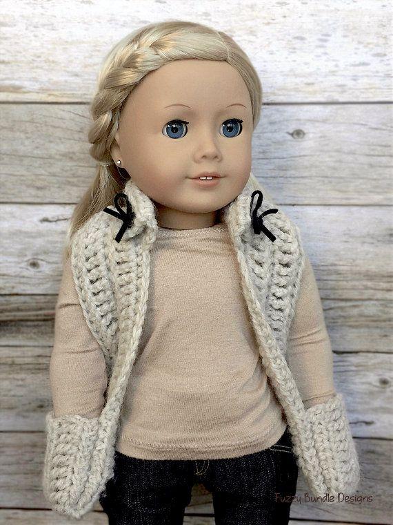 CROCHET PATTERN 18 inch Doll Collared Pocket Scarf by FuzzyBundle