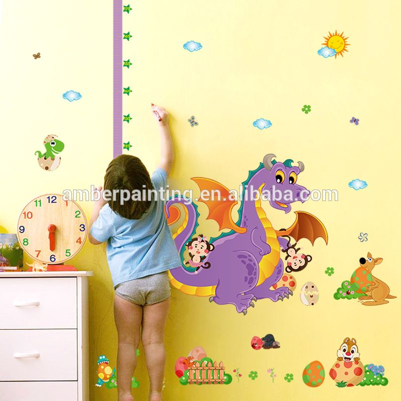 dinosaur vinyl wall decals large small kids growth chart height