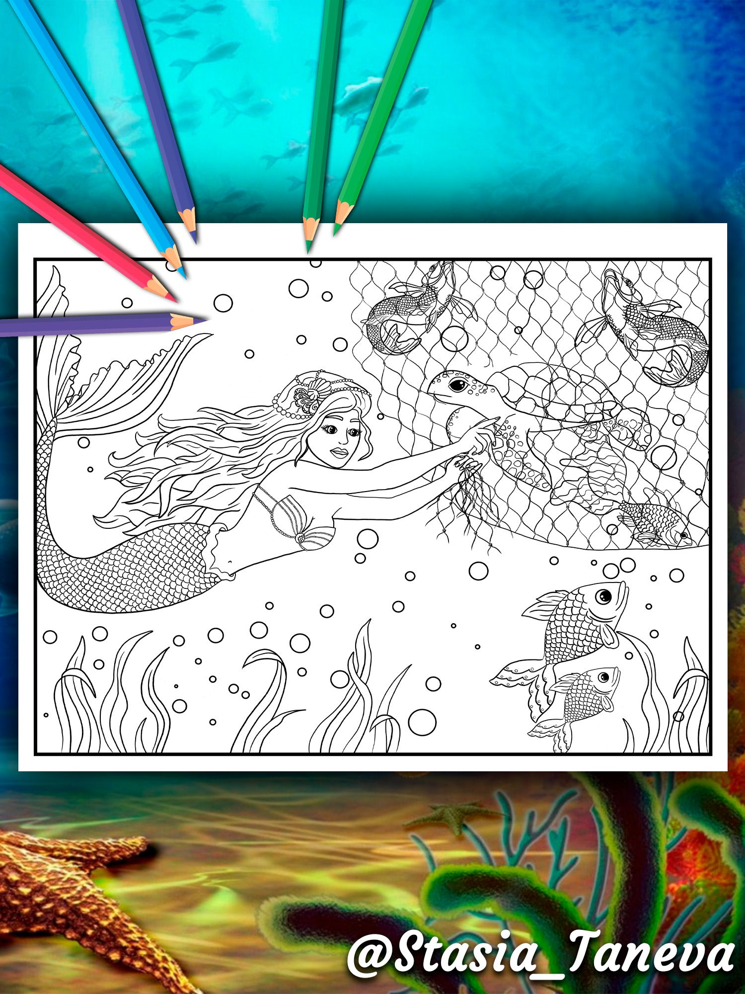 Mermaid Heroically Rescues A Turtle Mermaid Coloring Book For Adults By Stasia Taneva Page 14 Mermaid Coloring Book Unique Coloring Pages Coloring Books