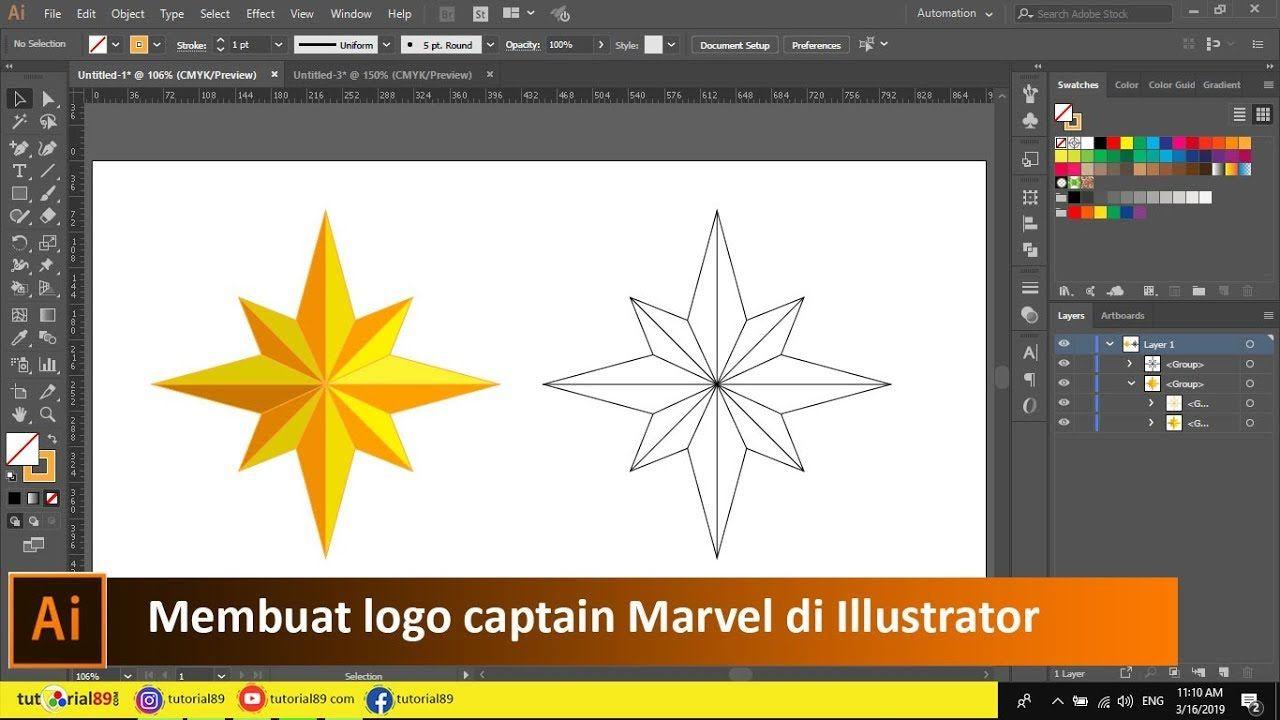 Cara Membuat Logo Captain Marvel Di Illustrator Tutorial89 Tutorial Adobe Illustrator Ai Di Video Ini Kita Akn Belajar Membuat Logo Bintang Delapan Sepert
