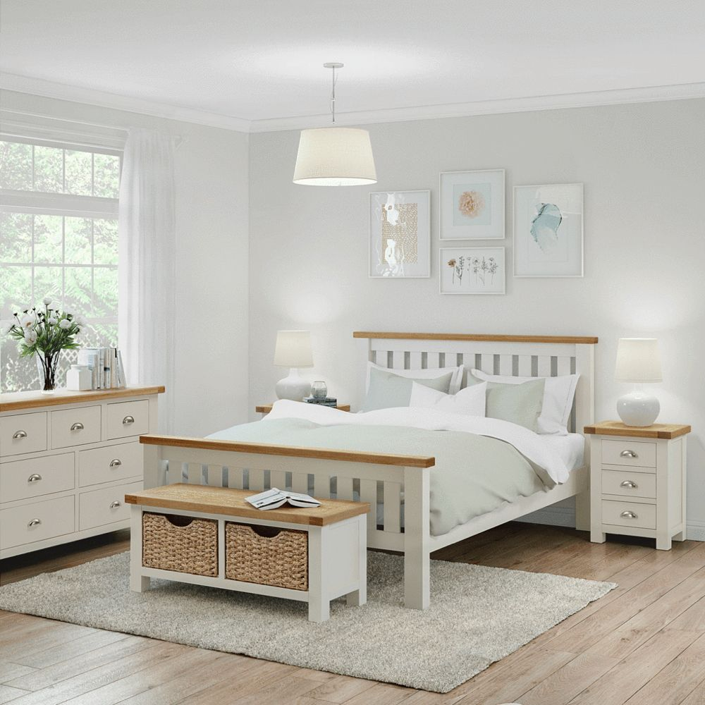 Daymer Cream 5' King Bed in 2020 Cream bedroom furniture