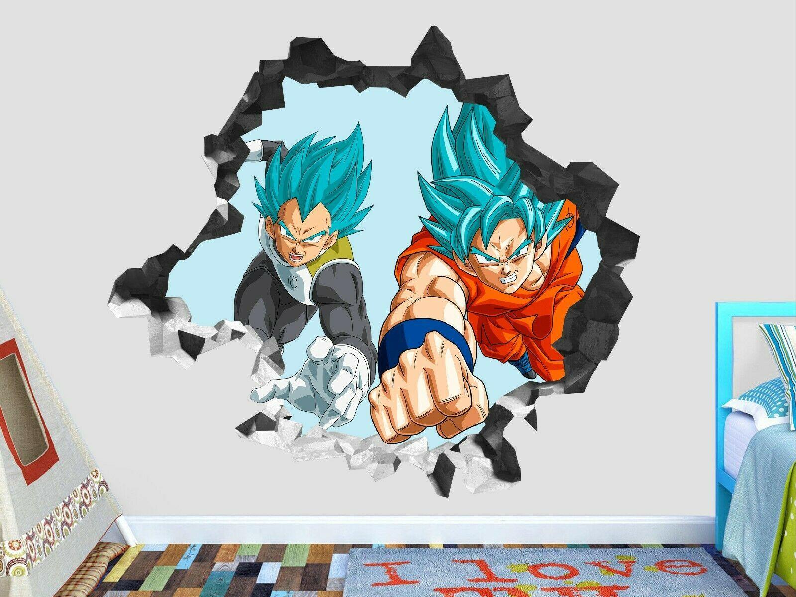 Dragon Ball Z Vegeta Goku Wall Decal Decor Smashed 3d Sticker Art Vinyl Gs161 Ideas Of 3d Art 3dart Custom Wall Decals Sticker Wall Art Vinyl Decor