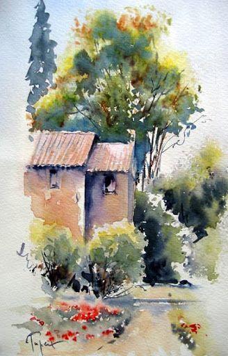 Pingl par nicole sur coloring art peintures autres pinterest maison campagne aquarelles - Tuto peinture abstraite contemporaine ...