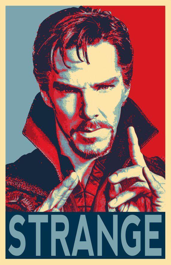 Dr Strange Political Illustration – Marvel Avengers Benedict Cumberbatch Pop Art Superhero Comicbook Home Decor in Poster Print or Canvas