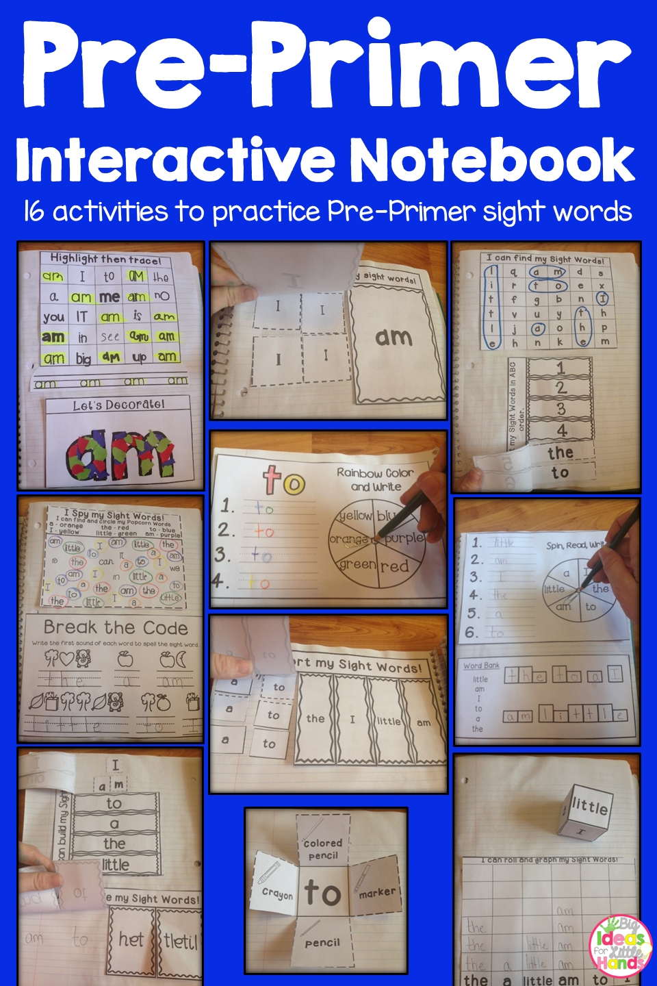 Pre-Primer Dolch Sight Word Interactive Notebooks Bundle | tpt ...