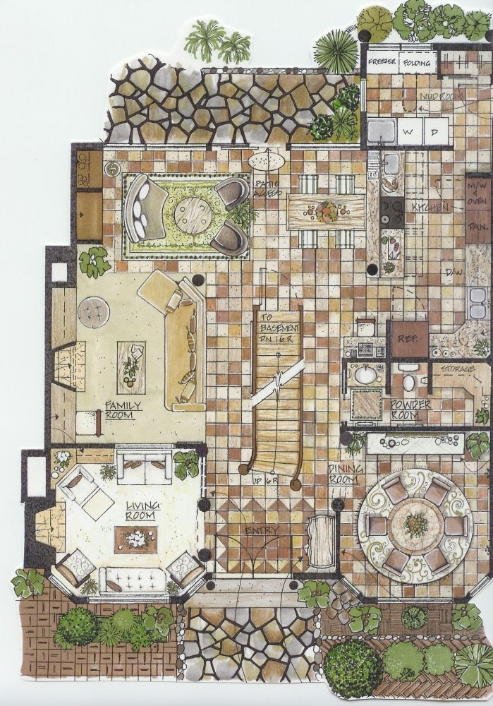 Presentation Drawings By A J At Coroflot Com Rendered Floor Plan Concept Architecture Architecture Mapping