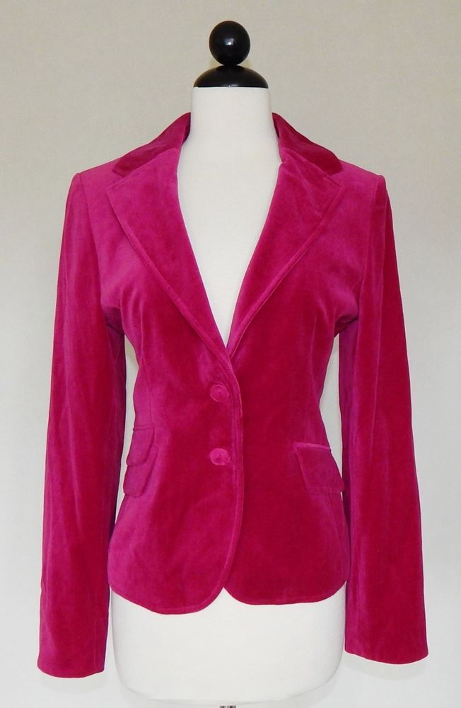 ANN TAYLOR Deep Fuschia Pink Velvet Fitted Jacket Blazer Holiday Party Size 6P #AnnTaylor #BasicJacket #Evening