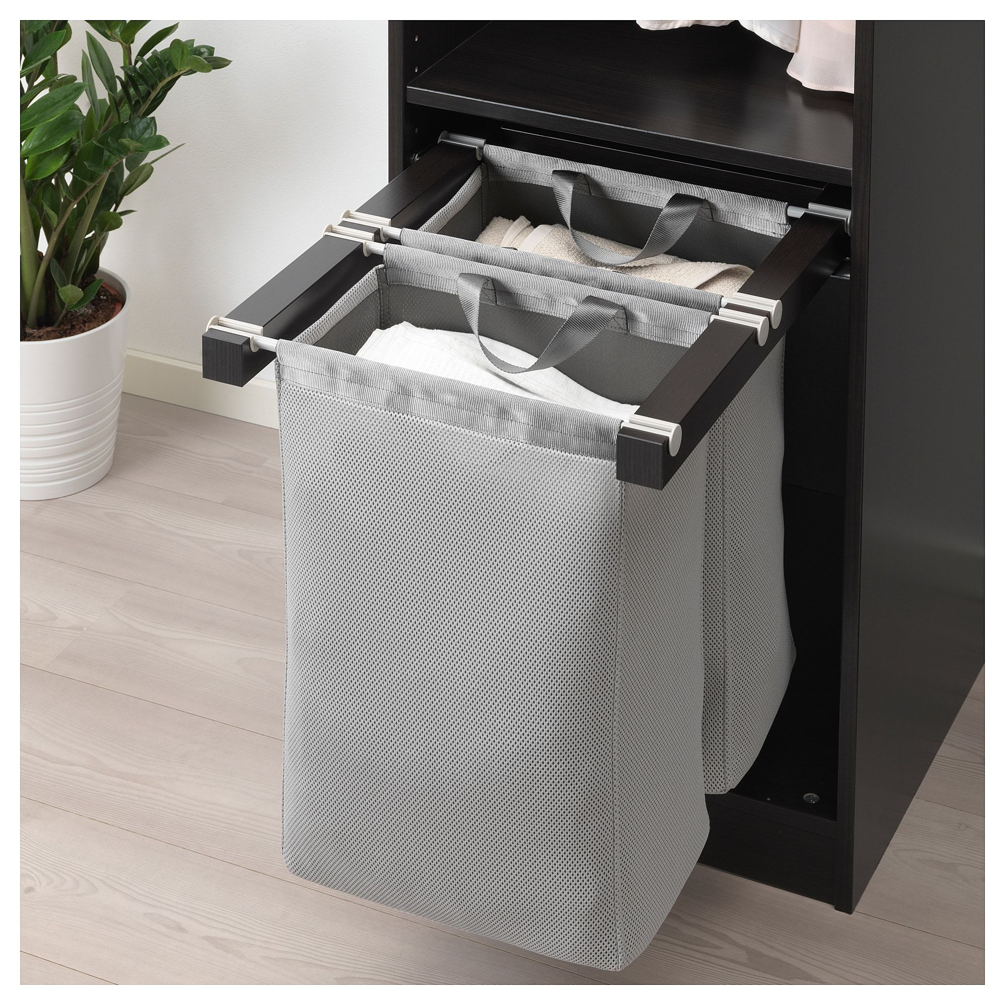 Komplement Black Brown Pull Out Storage Bag 50x58x48 Cm Ikea Laundry Room Storage Ikea Komplement Room Storage Diy