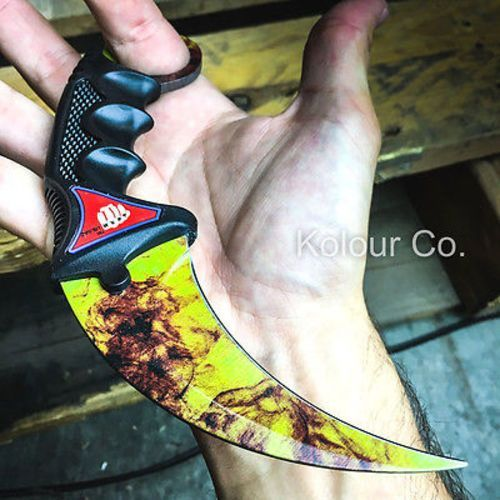 TACTICAL COMBAT KARAMBIT KNIFE Survival Hunting BOWIE Fixed Blade FIRE DOPPLER