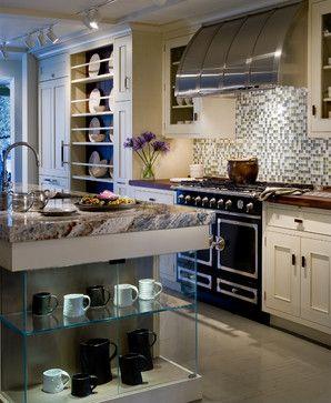kitchen--whitewash oak cabinet with butcher block ...