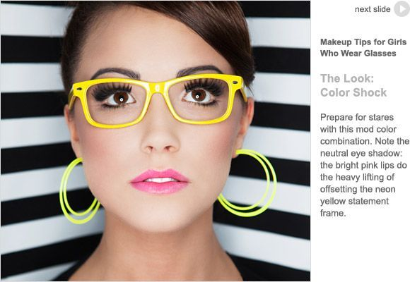 0fa9af5d410 Bold yellow eyeglass frames and bold makeup! Don t be afraid to make ...