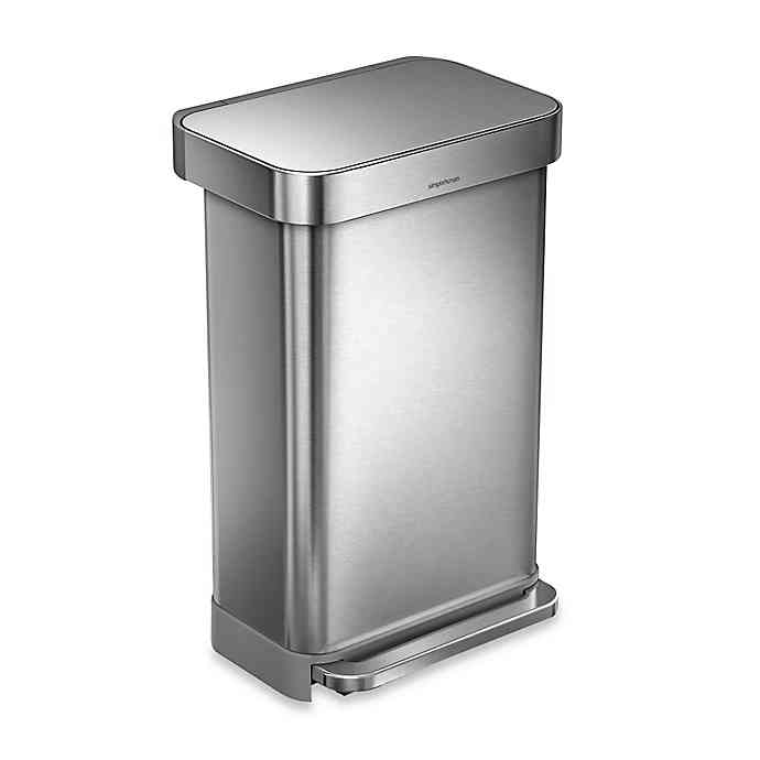 Best Simplehuman® 45 Liter Rectangular Liner Rim Step Trash Can 640 x 480