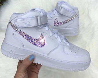 Swarovski Crystal Nike Air Force 1 Mid Women s Bling Diamond Sneakers 3e336dbb9561