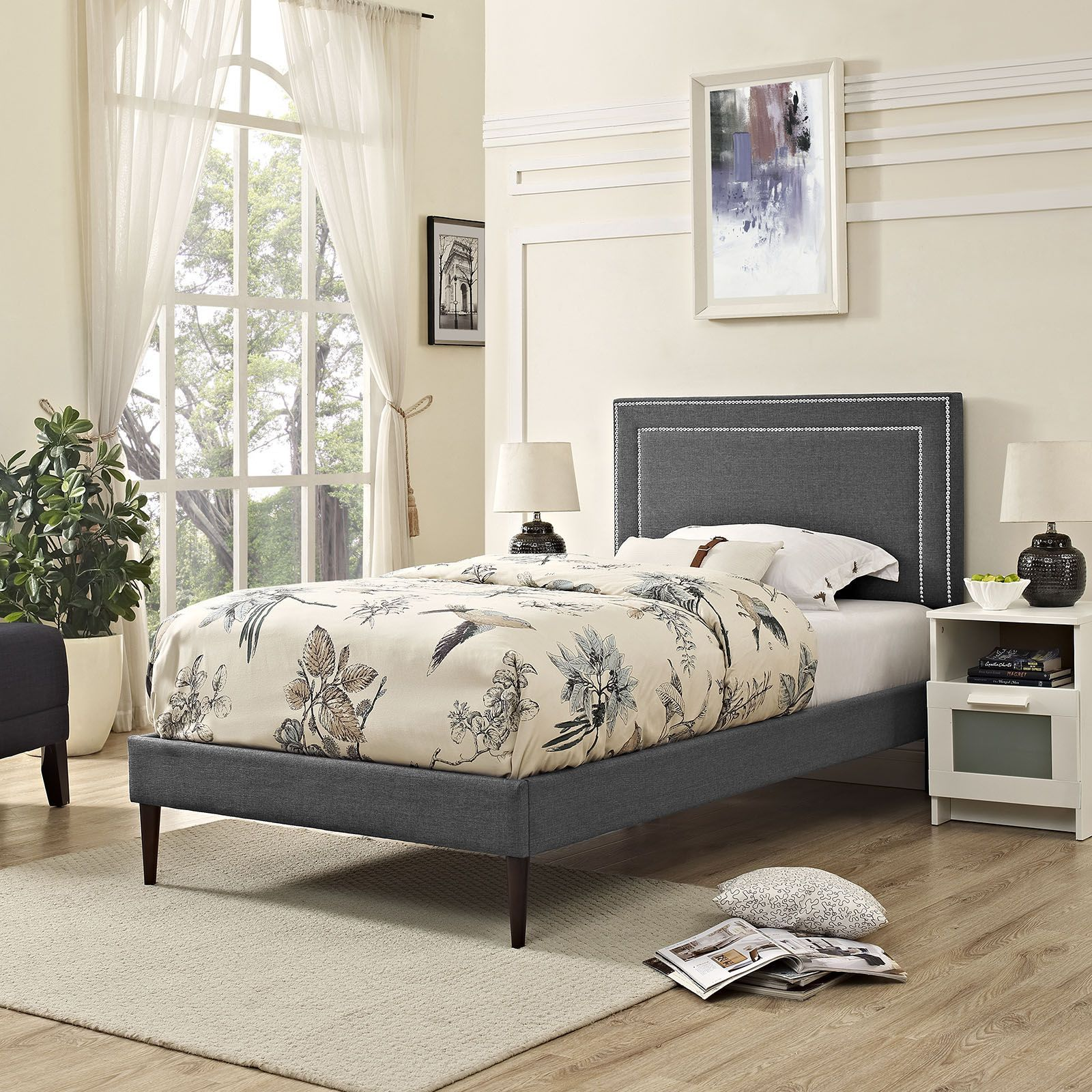 jessamine twin fabric platform bed with round tapered legs gray