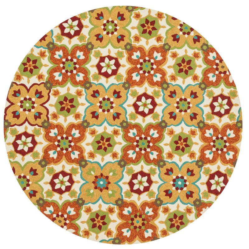 Loloi Rugs Ventura 02ML00 Indoor / Outdoor Hand Hooked Polypropylene Contemporar 8 x 8 Round Home Decor Rugs Rugs