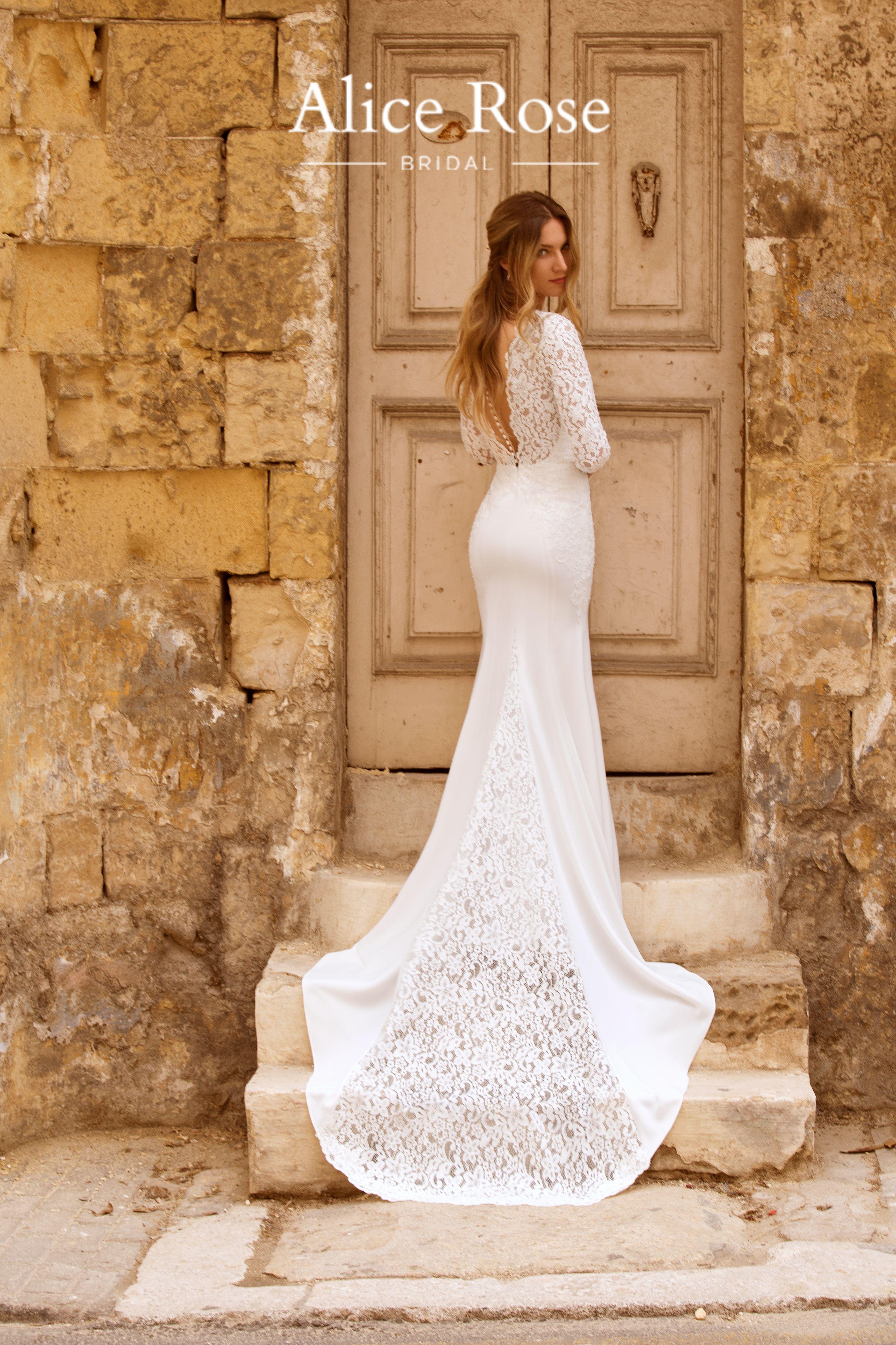 Beautiful crepe column wedding dress with beaded Alencon