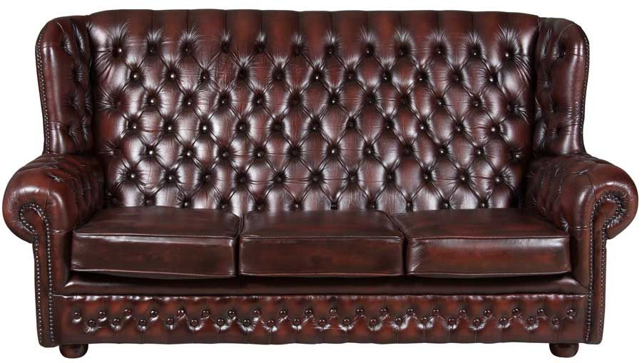 Delicieux Vintage Oxblood Leather Three Seat Chesterfield Sofa   Tall Back Couch With  Tufted Red Leather In