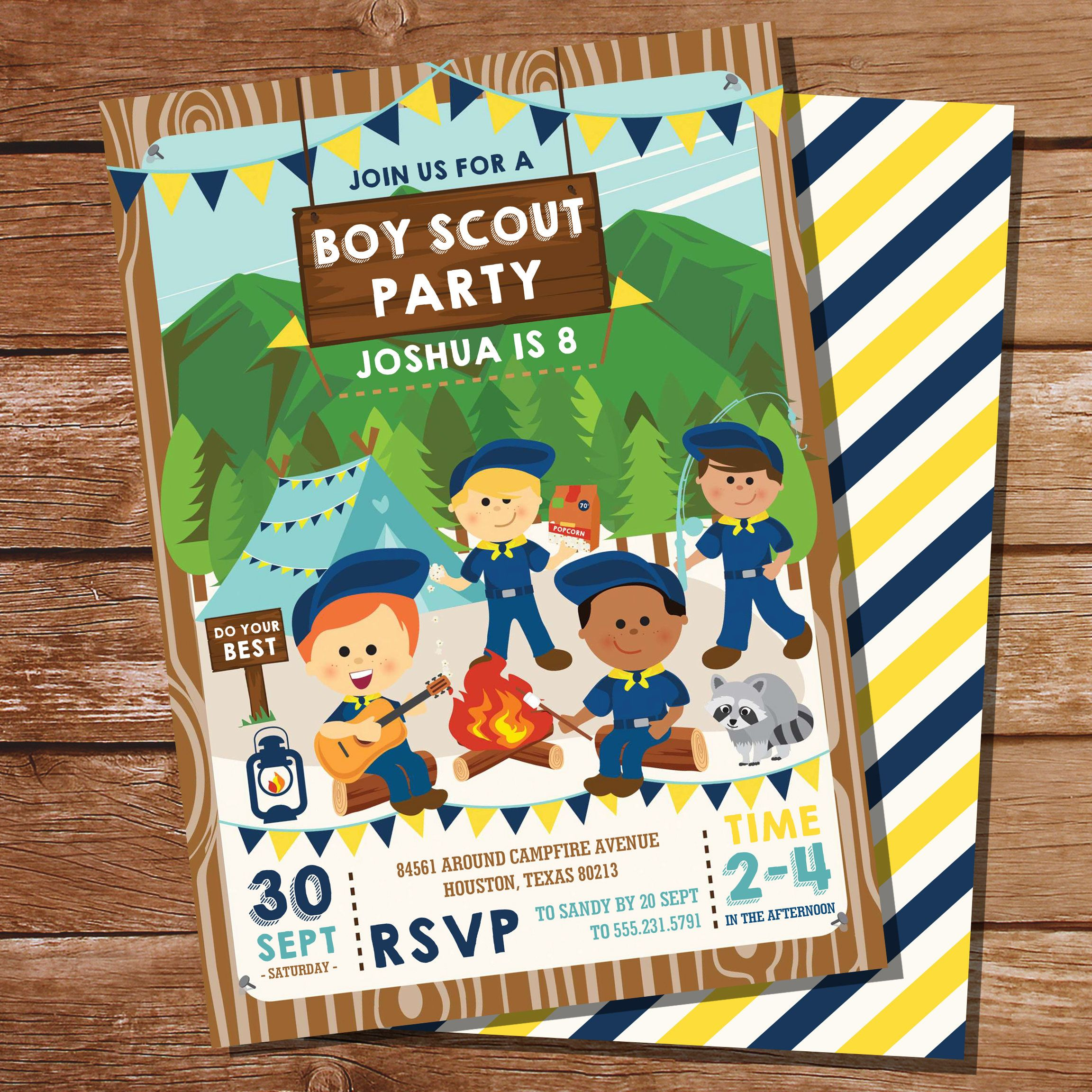 Boy Scout Party Invitation Boy Scout Birthday Party Etsy Camping Invitations Camping Parties Party Invitations
