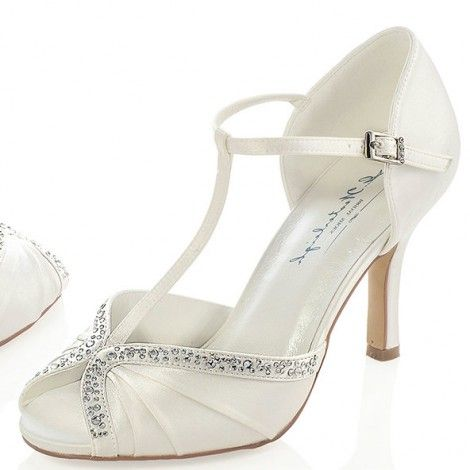 Tiffany By Westerleigh Ivory Or White Vintage T Bar Wedding Occion Shoes