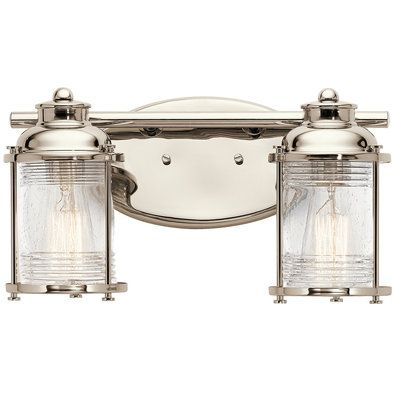 Nautical Seeded Ridged Glass Bath Light Light Lights - Nautical bathroom vanity lights