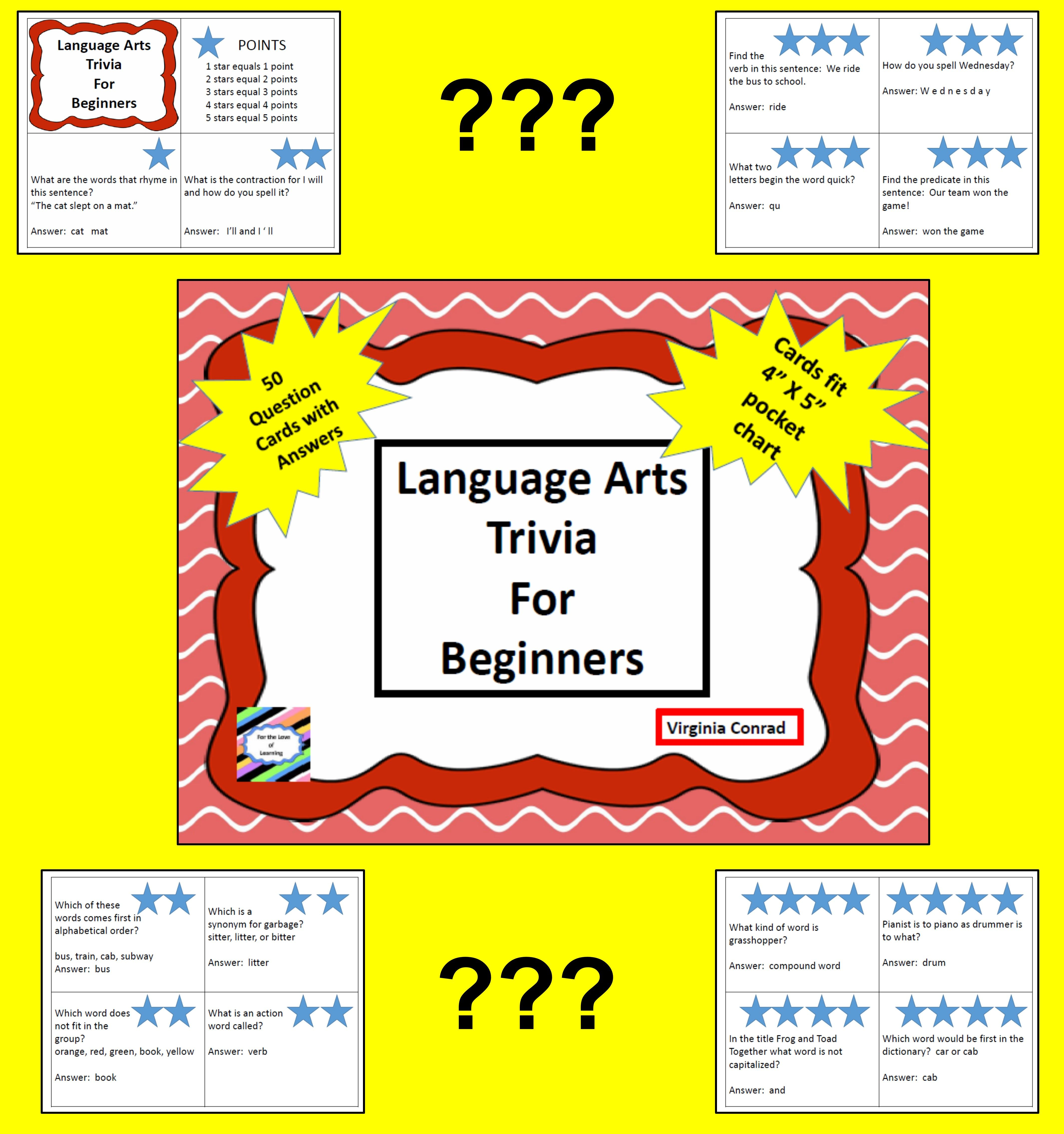 Language Arts Trivia For Beginners 50 Cards