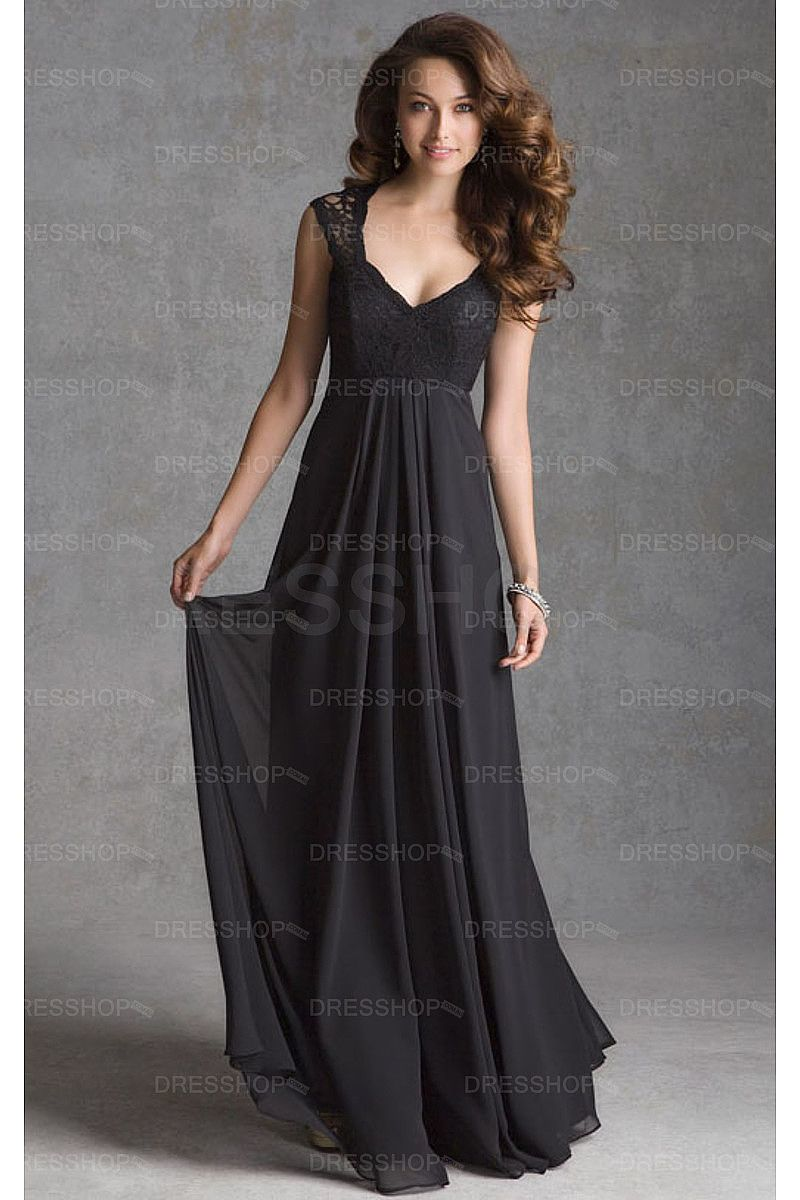 Black deep v neck empire chiffon a line bridesmaid dresses long in order to avoid the lace color mismatches we strongly suggest that clients buy the dresses together if the dresses are for bridesmaids to join wedding ombrellifo Images