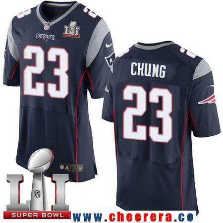 39b5e8be19e ... NFL New England Mens New England Patriots 23 Patrick Chung Navy Blue  Team Color 2017 Super Bowl LI Nike Patrick Chung Elite White Road Mens  Jersey ...